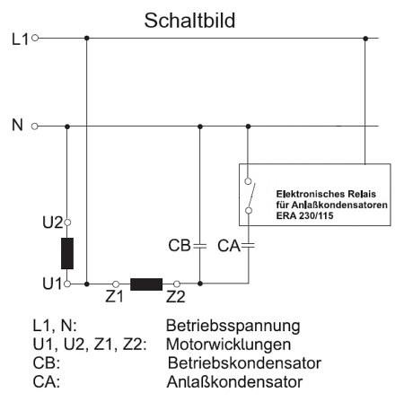 Anlaufrelais für Motoren mit Anlaufkondensator